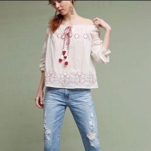 Anthropologie Harlyn Embroidered Peasant Top NWOT
